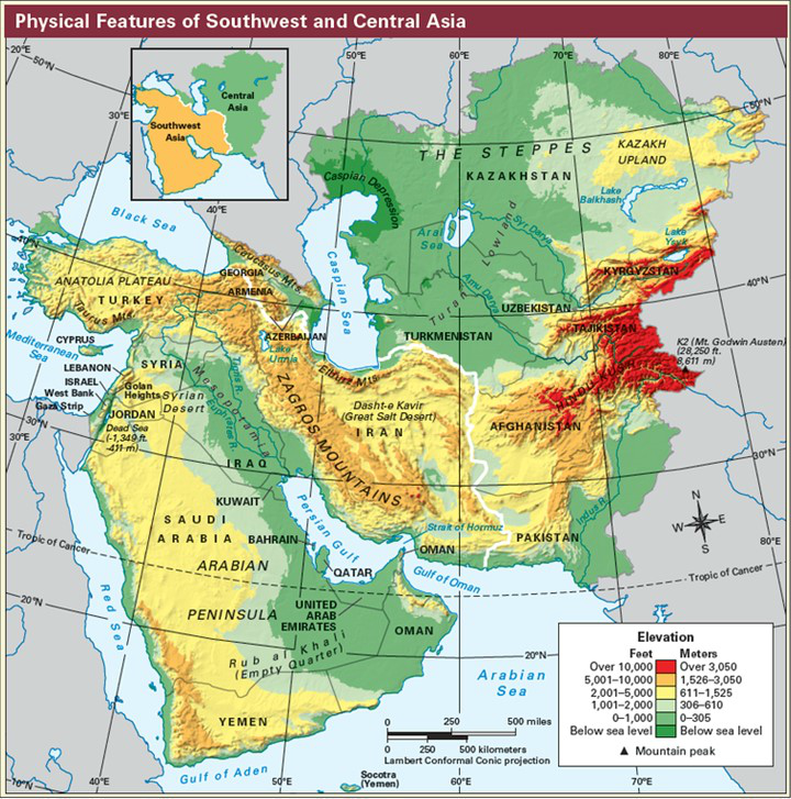 Southwest And Central Asia Mapping Lab Geography of the Middle East   McGregor's Social Studies